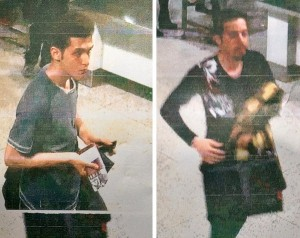 Malaysian police provided photographs of 19-year-old Pouria Nourmohammadi Mehrdad, left, and an unidentified man at the airport