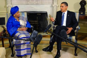 L-R: President Ellen Johnson Sirleaf of Liberia and President Barack Obama of US