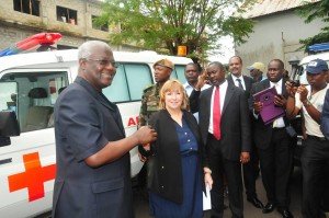 GOOD GESTURE ... President Koroma receiving keys for the loaned U.S. ambulances from Charge d'Affairs, Ms. FitzGibbon