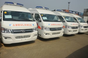 The Chinese donated ambulances in photo