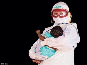 THE FUTURE GENERATION … a nurse tending to a toddler afflicted by Ebola