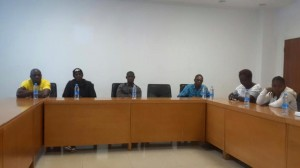 A cross-section of the journalists, including our senior reporter, Alusine Sesay (centre), being briefed by Sierra Leone Embassy officials in Beijing