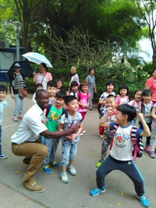 Having some fun with school kids at the White Lake Park in Nanny City, Guanxhi Autonomous Region in China